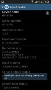 Android Developer option
